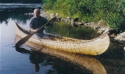14 foot Abnaki birch bark canoe built in the style of a rare old bark canoe found in the Lake Memphramagog  area of Quebec