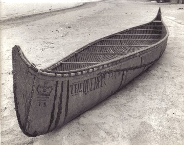 25' birchbark fur-trade canoe ''THE QUEBEC'' built for the regatta in honor of the Prince of Wales in 1860; it features the tribal Algonquin bow profile rather than the usual fur-trade end ; photo Rick Nash , 1972