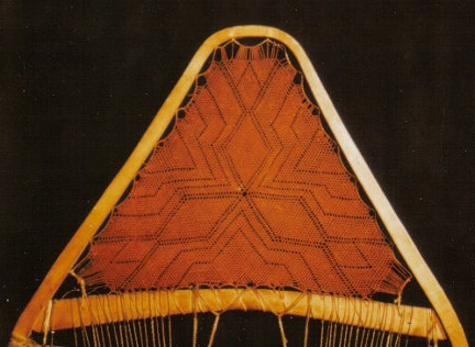 An exceptionally finely woven snowshoe, circa pre-1926 , McCord Museum collection, Montreal . The pattern is unusually complex, but might be typical of snowshoes made in earlier times . The mesh is so closely woven that a wooden matchstick would not easily pass through ; from ''Making the Attikamek Snowshoe'', photo Henri Vaillancourt