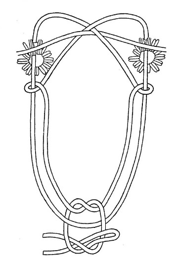 The traditional Indian harness is far superior to its modern counterpart for general snowshoeing. It allows the snowshoe to be put on or taken off without the need for tying and untying the harness, and often without using the hands ; from ''Making the Attikamek Snowshoe'', sketch Henri Vaillancourt
