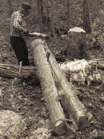 Moise Flamand splitting a yellow birch log with wooden wedges for making snowshoe frames ; white birch , maple, and black ash are also used by the Attikamek for snowshoe frames ; Manouane, Quebec 1979 ; from ''Making the Attikamek Snowshoe'', photo Henri Vaillancourt