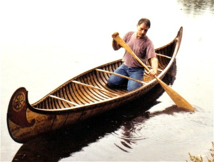 18' fur-trade  birchbark canoe made by Henri Vaillancourt ; smaller canoes such as this were often made as family canoes by Indians in preference to their own tribal types