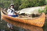 An 18 foot Fur-Trade type birchbark canoe